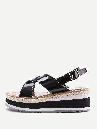 Criss Cross Patent Leather Wedge Sandals