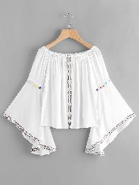 Embroidered Tape Detail Flare Sleeve Pom Pom Top