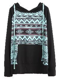 Black Graphic Print Raglan Sleeve Hooded Sweatshirt