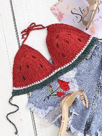 Self Tie Crochet Watermelon Bralette