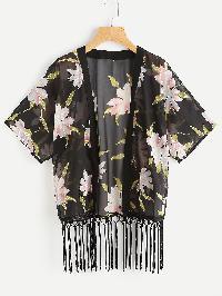 Open Front Fringe Hem Chiffon Kimono
