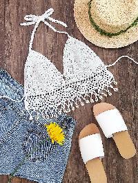 Shell Fringe Trim Self Tie Crochet Bralette