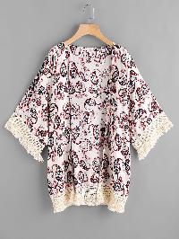 Contrast Crochet Trim Paisley Print Kimono