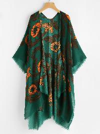 Jungle Print Frayed Trim Kimono