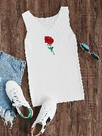 Rose Embroidered Knit Tank Top