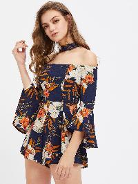 Floral Print Bell Sleeve Choker Zipper Back Romper