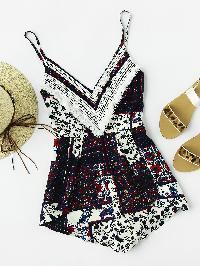 Ditsy Print Contrast Crochet Slip Romper
