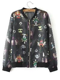 Cartoon Print Zipper Up Jacket