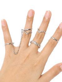 Silver 6pcs Leaves Rings