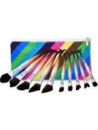 Mermaid Shaped Cosmetic Brush Set 10pcs With Bag