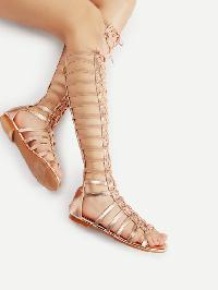 Lace Up Caged Knee High Flat Sandals