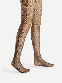 Side Graphic Pattern Fishnet Tights