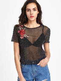 Rose Patch Lettuce Hem Glitter Mesh Top