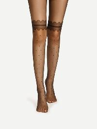 Scalloped & Polka Dot Pattern Tights