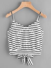 Split Bow Tie Back Crop Cami Top