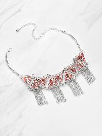 Rhinestone Triangle Decorated Necklace With Fringe