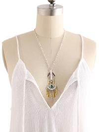 Metal Arrow Design Body Chain With Gemstone