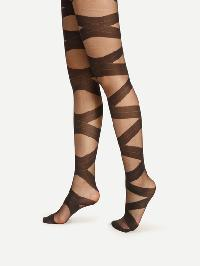 Criss Cross Bandage Pattern Tights