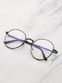 Contrast Frame Clear Lens Round Glasses