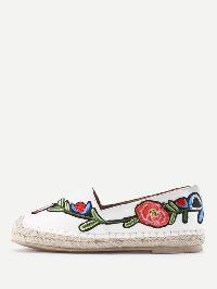 Flower Embroidery PU Espadrille Flats