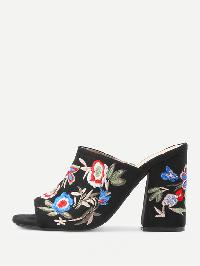 Flower Embroidery Heeled Mules