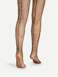 Rhinestone Back Seam Tights