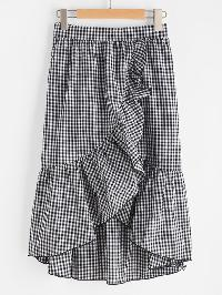 Band Waist Asymmetric Ruffle Trim Gingham Skirt