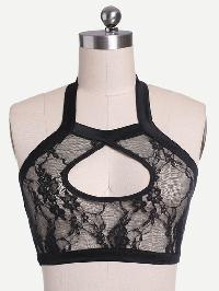 Halter Neck Keyhole Front Crop Sheer Lace Top