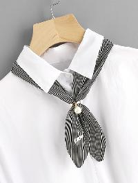 Faux Pearl Embellished Pinstriped Twilly Scarf