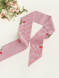 Flower Embroidery Pinstriped Twilly Scarf