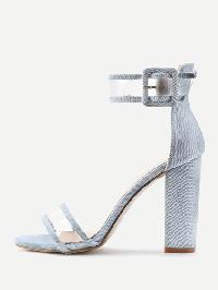 Clear Strap Block Heeled Sandals