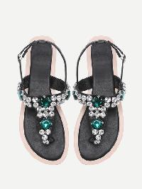 Gemstone Decorated T Strap Sandals