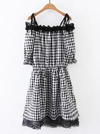 Contrast Lace Frill Trim Gingham Dress