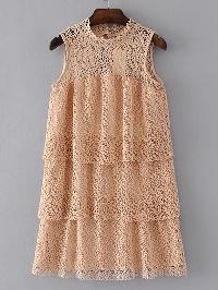 Hollow Out Tiered Lace Dress