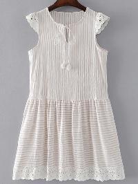 Crochet Trim Pom Pom Tie Dress