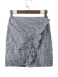 Checkered Frill Trim Skirt