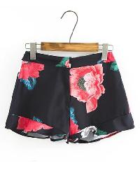 Floral Print Zipper Detail Shorts