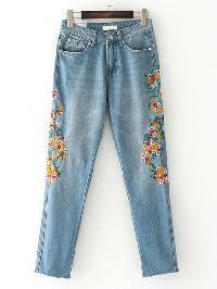 Raw Hem Embroidery Jeans