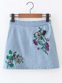 Flower Embroidery Zipper Back Denim Skirt