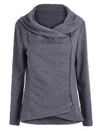Asymmetric Zip Outerwear