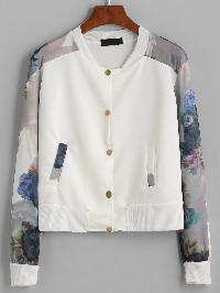 White Flower Print Contrast Sleeve Jacket