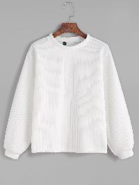 White Long Sleeve Ribbed Sweatshirt