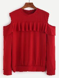 Red Open Shoulder Ruffle Trim Sweatshirt