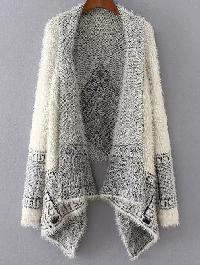 White Aztec Print Asymmetrical Poncho Sweater