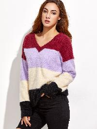 Color Block V Neck Fluffy Sweater
