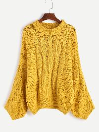 Yellow Cable Knit Slouchy Sweater