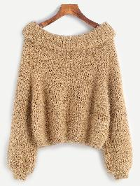Boat Neck Foldover Fuzzy Sweater