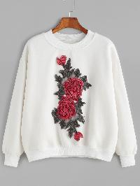 Drop Shoulder Flower Embroidered Sweatshirt