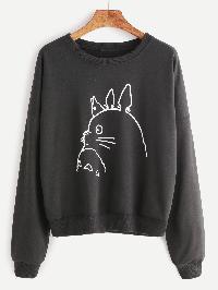 Drop Shoulder Cartoon Print Sweatshirt