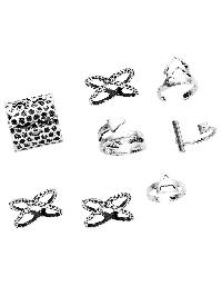 Antique Silver Multi Shape Hollow Out Ring Set